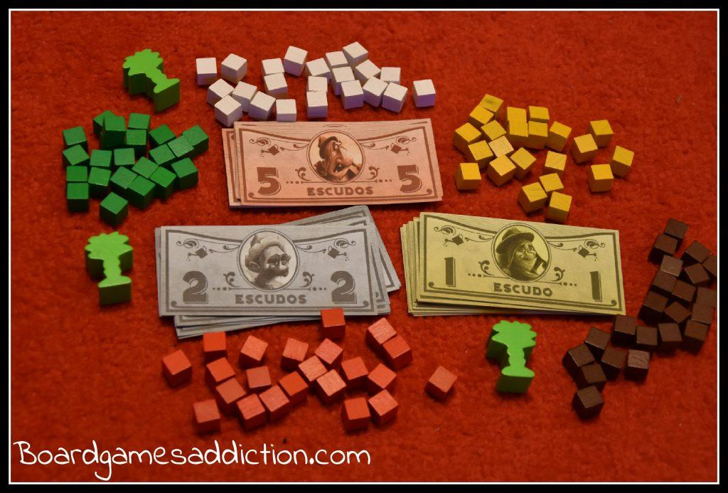 Waluta pieniężna - Ecudos i punktowa - kostki oznaczające robotników